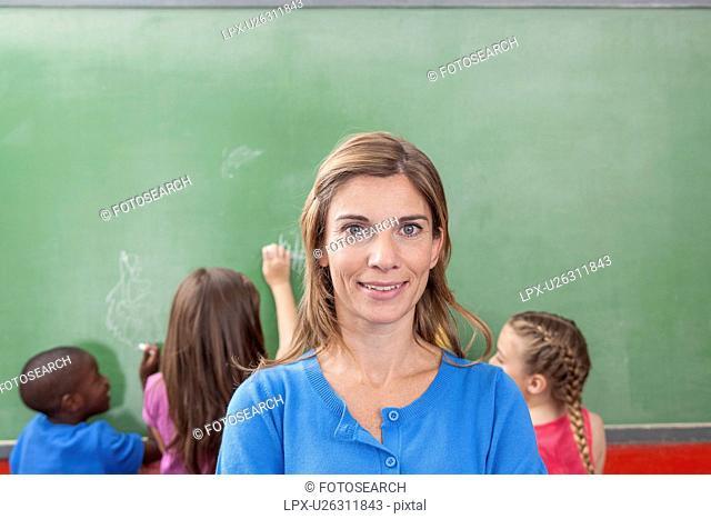 Teacher looking at camera