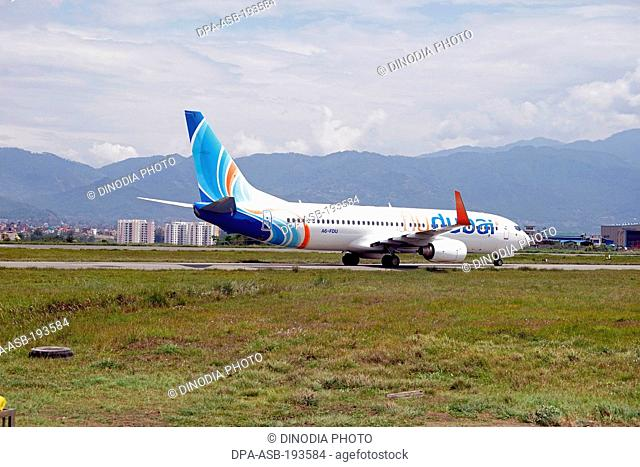 Commercial airplane, tribhuvan international airport, nepal, asia