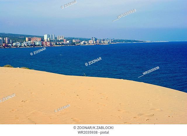 sand, sea and town; turkish beach