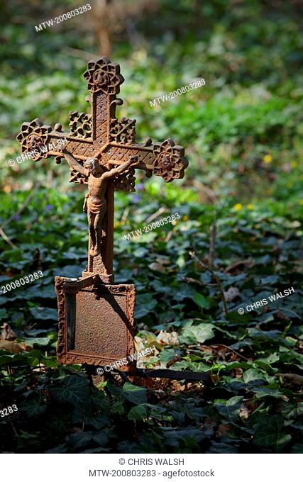 Iron cross crucifix cemetery Vienna ivy old rusty