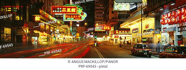 Night Percival Street Causeway Bay Hong Kong