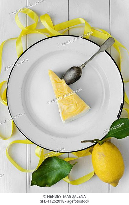 A piece of lemon cheesecake