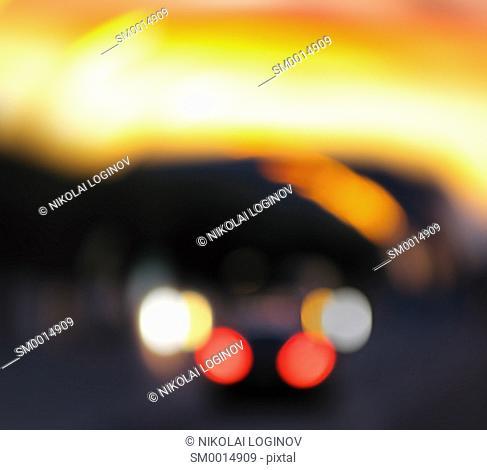 Vibrant vivid car bokeh abstraction