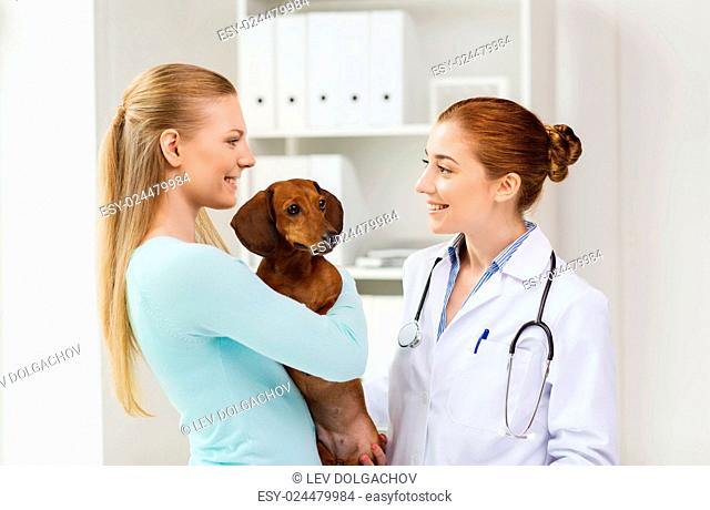 medicine, pet care and people concept - happy woman with dachshund dog and veterinarian doctor talking at vet clinic