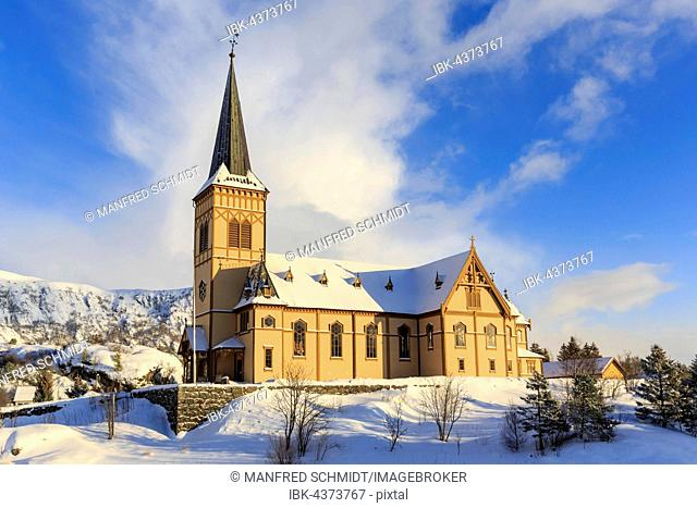 Vågan Church, Lofoten Cathedral in winter, Kabelvåg, Austvågøya Island, Lofoten, Nordland, Norway