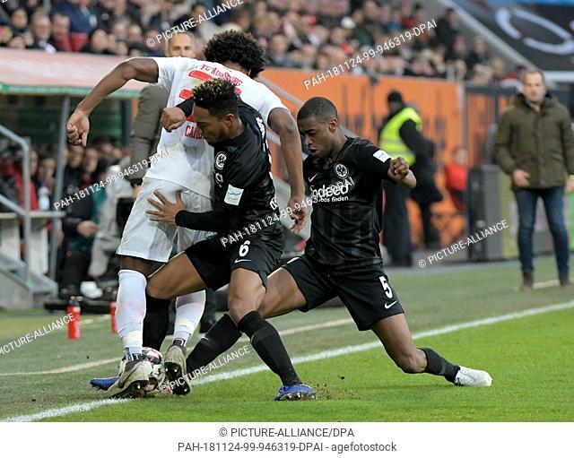 24 November 2018, Bavaria, Augsburg: Soccer: Bundesliga, FC Augsburg - Eintracht Frankfurt, 12th matchday in the WWK-Arena