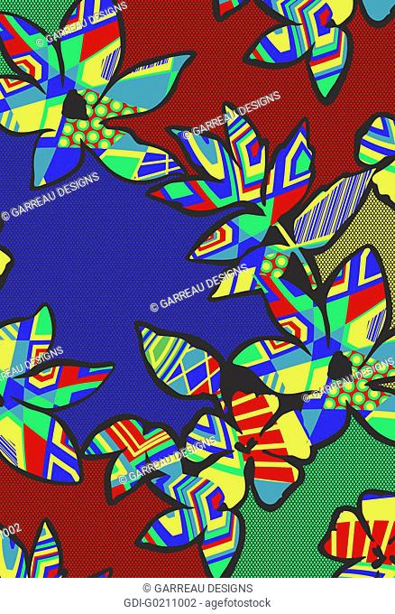 Primary colored tropical flower design