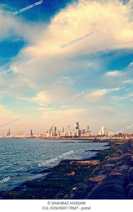Kuwait City skyline and water