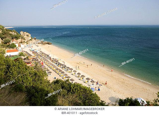 Praia de Galapos Beach, Costa Azul, near Sesimbra, Portugal, in the late afternoon