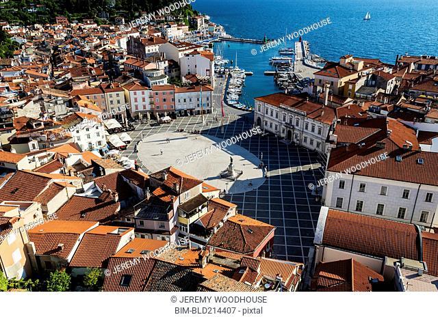 Aerial view of ornate buildings in Piran cityscape, Primorska, Slovenia