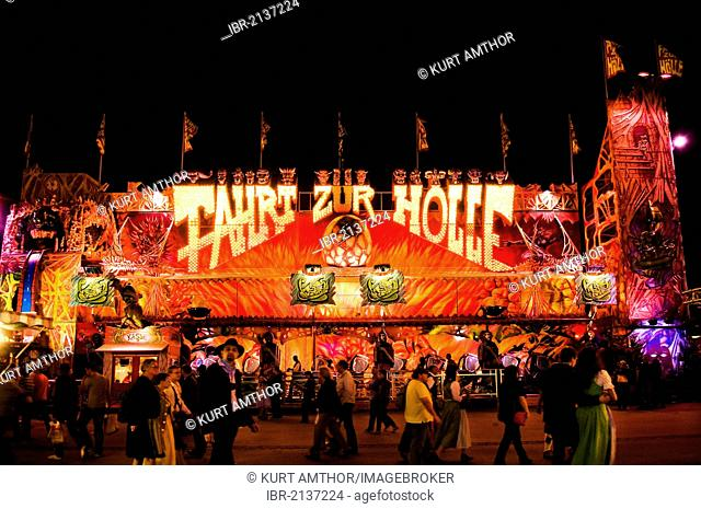 Oktoberfest, Wiesn, amusement rides, Fahrt zur Hoelle, journey to hell, ghost train at night, Munich, Bavaria, Germany, Europe
