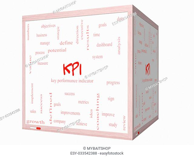 KPI Word Cloud Concept on a 3D cube Whiteboard with great terms such as key, performance, indicators and more