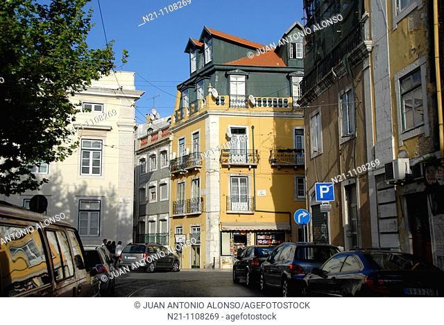 Largo Trindade Coelho, a square in the Chiado area.  Lisbon, Portugal, Europe