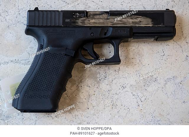 A Glock 17 handgun used by David S. during a deadly killing spree in Munich in 2016 in the State Office of Criminal Investigations (LKA) in Munich, Germany