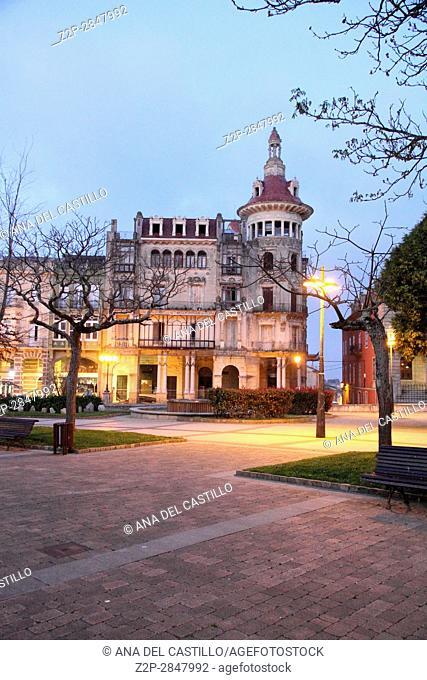 Ribadeo town at night, Asturias, Spain