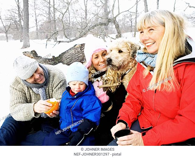 A family on a winter picnic