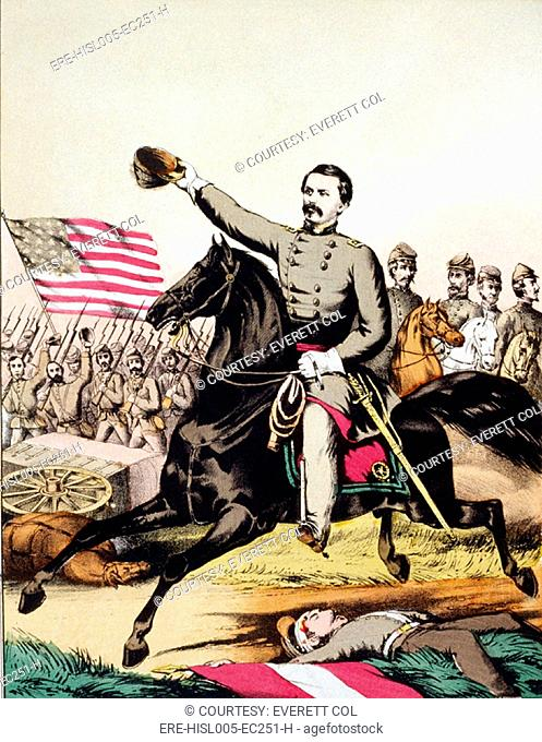 George McClellan 1826-1885 on galloping ahead of his staff and army in a popular print of 1862
