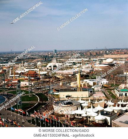 Panoramic view facing northeast of the New York World's Fair, taken from the observation tower at the New York State Pavilion, in Flushing Meadows-Corona
