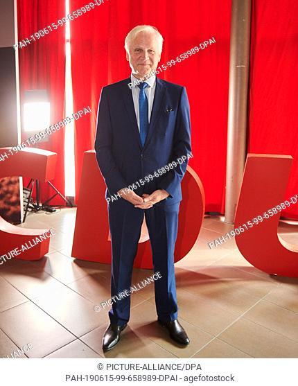 15 June 2019, Berlin: Dieter Dombrowski (CDU), member of the state parliament in Brandenburg, stands in front of the red CDU letters for the Brandenburg state...