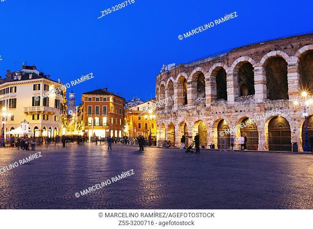 Roman amphitheatre Arena di Verona and Piazza Bra square at night. Verona, Veneto, Italy, Europe