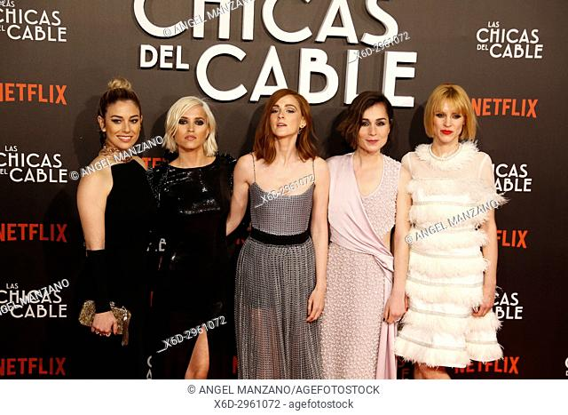 Premiere of the Netflix series Las chicas del cable.Ana Fernandez, Ana Polvorosa, Maggie Civantos, Nadia de Santiago.Madrid. 27/04/2017