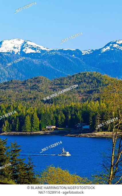 Overview of Ketchikan and the Tongass Narrows, Southeast Alaska USA