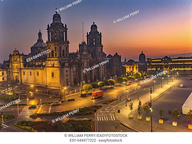 Metropolitan Cathedral and President's Palace Sunrise Morning Zocalo Center of Mexico City Mexico