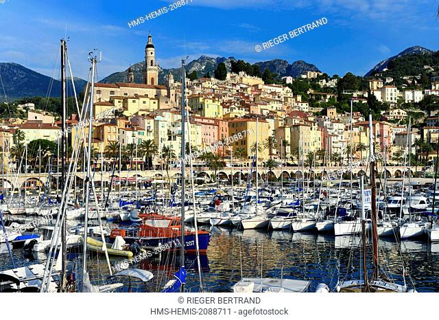 France, Alpes Maritimes, Menton, the port and the old town dominated by the St Michel Basilica