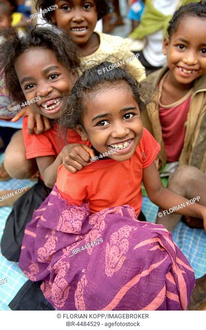 Children in village near Tsiroanomandidy region Bongolava, Madagascar
