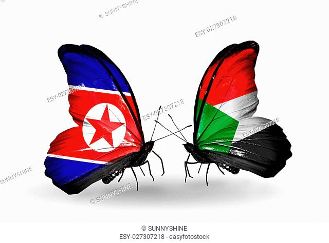 Two butterflies with flags on wings as symbol of relations North Korea and Sudan