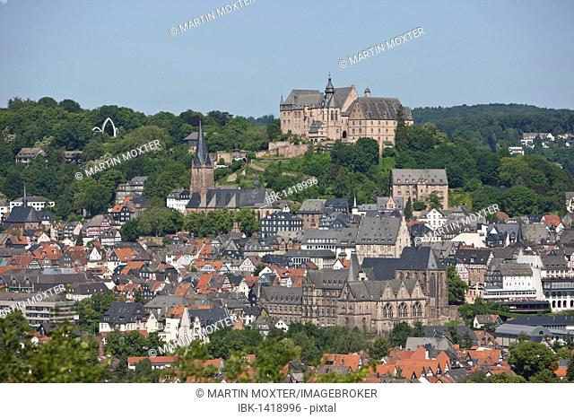 View over Marburg an der Lahn with the historic town centre in front of the Landgrave's Castle, University Museum of Cultural History, Lutheran Church