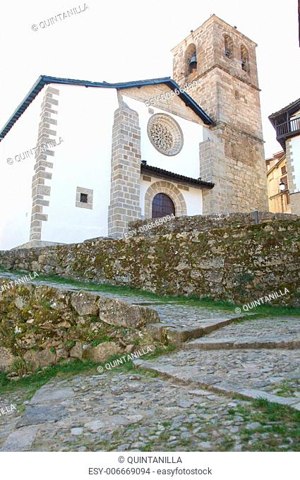 ancient public church at candelario village in salamanca spain