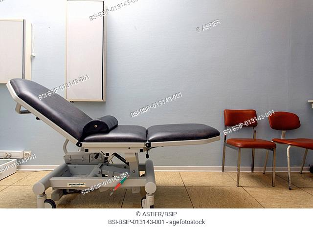 Clinical research in the GHICL. Physical medicine unit in Saint Philibert hospital in Lille, France. Examining table