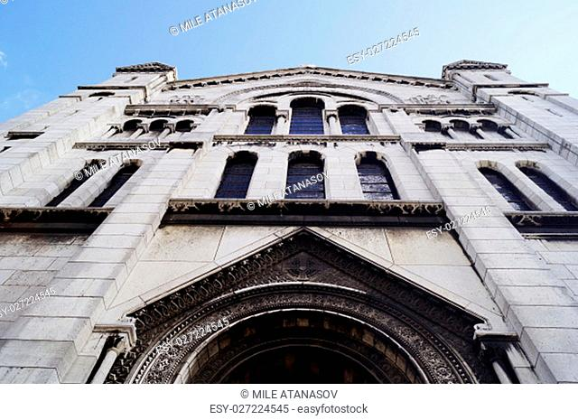 Facade of the famous Sacre-Coeur basilica in Paris, France