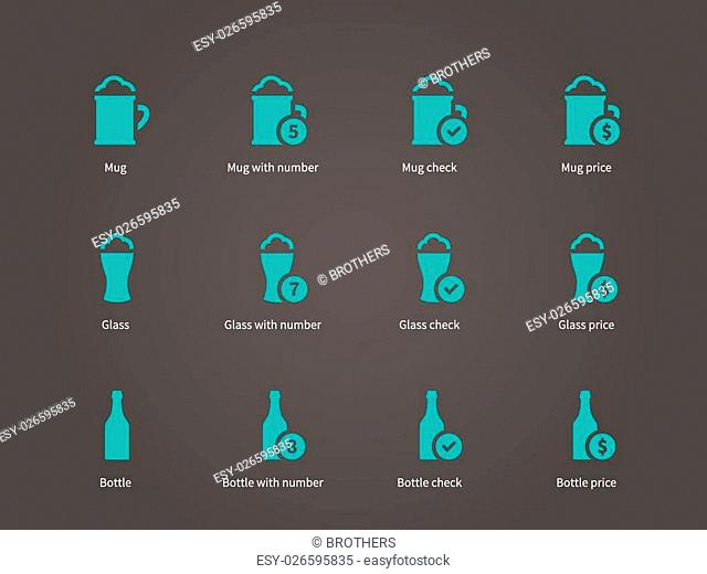 Beer icons. Vector illustration