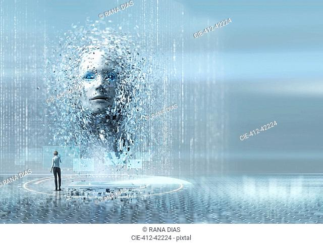 Artificial intelligence woman looking up at face