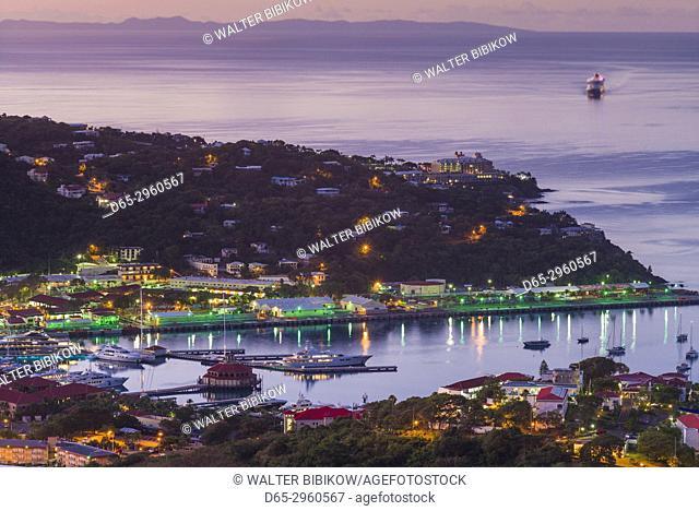 U. S. Virgin Islands, St. Thomas, Charlotte Amalie, elevated view towards Havensight cruise port, dawn