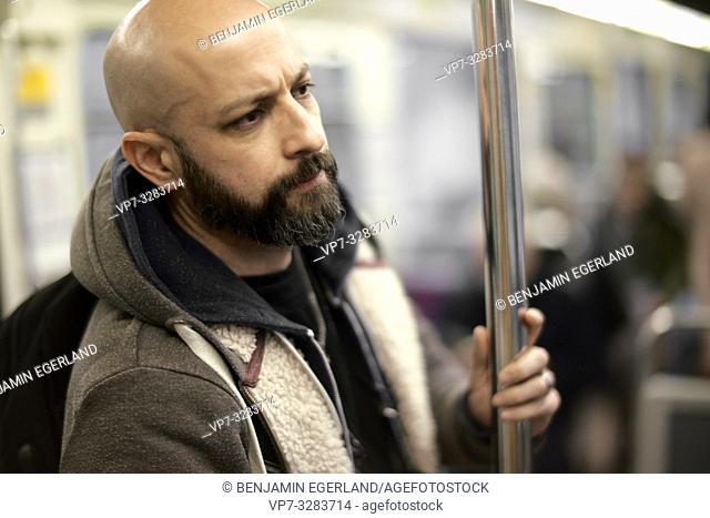 man in subway. Paris, France