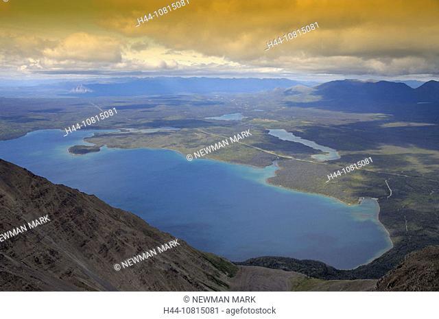 Kathleen Lake, landscape, mountains, view King Throne Trail, Kluane Nationall Park, Yukon Territory, Canada, America