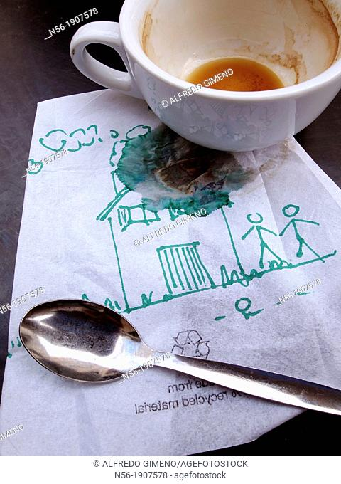 Kids drawing in a caffee