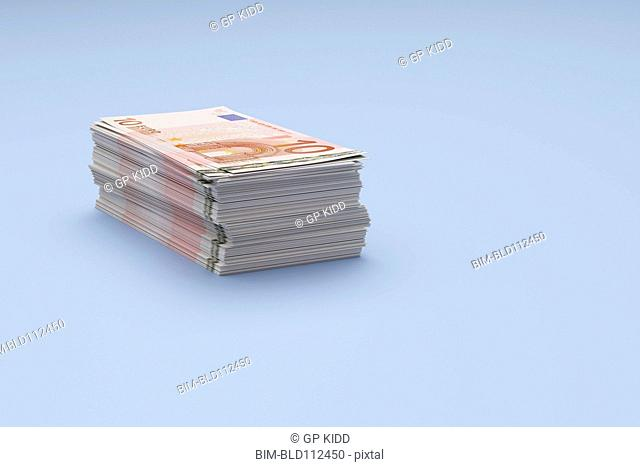 Close up of stack of Euro bills