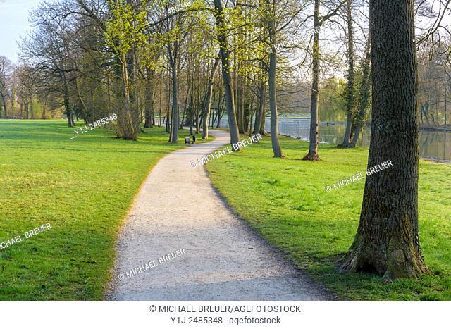 Path in Early Spring, Park Schoenbusch, Aschaffenburg, Lower Franconia, Bavaria, Germany, Europe