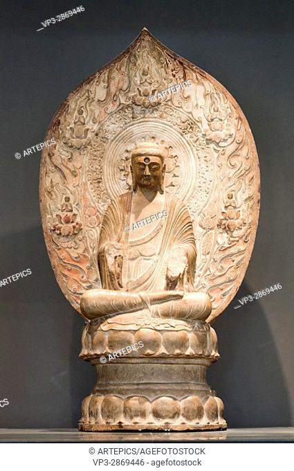 Buddha Amitàbha. VI th Century. North Qi Dynasty - China. Marbble. Cernuschi Museum - Paris