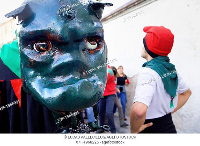 Parade.`Guita grossa'La Patum Masterpiece of Oral and Intangible Heritage by UNESCO.Berga. Barcelona. Catalonia. Spain