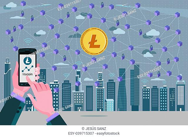 Modern City, Litecoin, cryptocurrency symbol, Blockchain transaction network with Litecoin currency. In the foreground hands with a mobile phone with the...