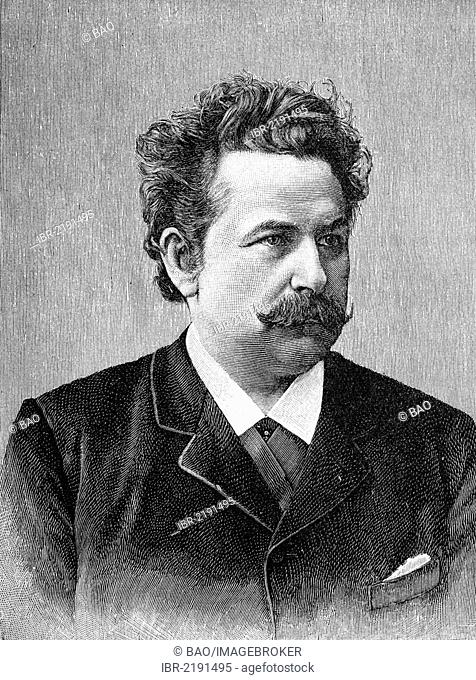 Max Staegemann, 1843 - 1905, a German actor, singer and artistic director, historical engraving, about 1888