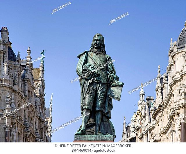 Statue of David Teniers the Younger, and art nouveau houses, Leysstraat, Antwerp, Flanders, Belgium, Europe