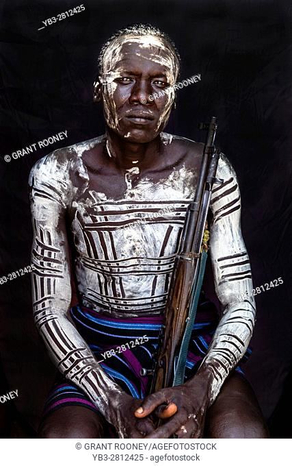 A Portrait Of A Man From The Karo Tribe, Kolcho Village, Omo Valley, Ethiopia