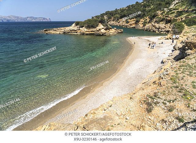 Kiesstrand Playa S'illot, Halbinsel Victoria, Mallorca, Balearen, Spanien | pebble beach Playa S'illot, Victoria Peninsula, Majorca, Balearic Islands, Spain