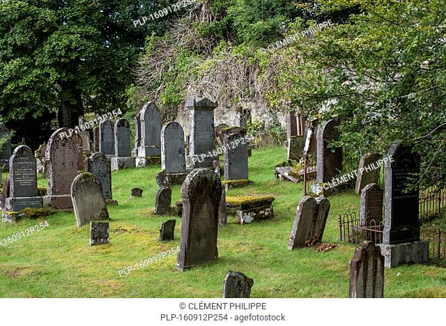 Weathered tombstones in the Lochcarron Old Cemetery, Wester Ross, Scotland